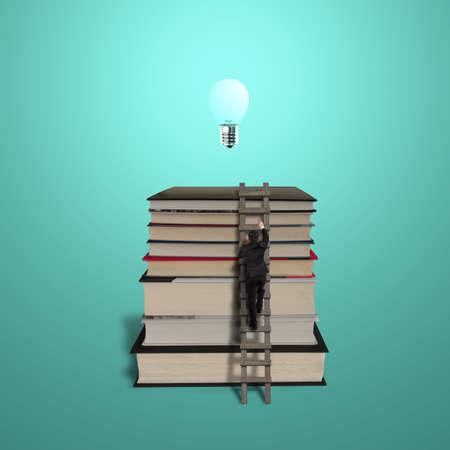 Businessman climbing on stack of books with wooden ladder and growing bulb Stock Photo