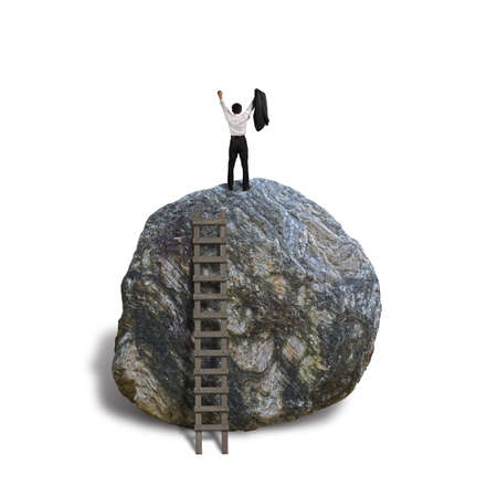 Cheered businessman climb on top of large rock, isolated in white Banco de Imagens