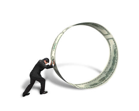 Businessman pushing money circle isolated in white