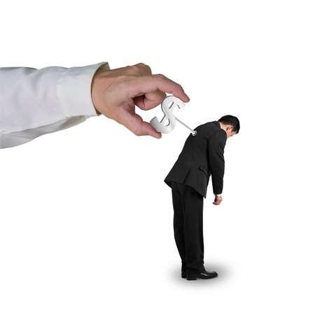 winder: Hand windering winder on businessmans back in white