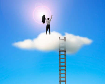 Cheered businessman on top of cloud face sun with wooden ladder in blue sky Banco de Imagens