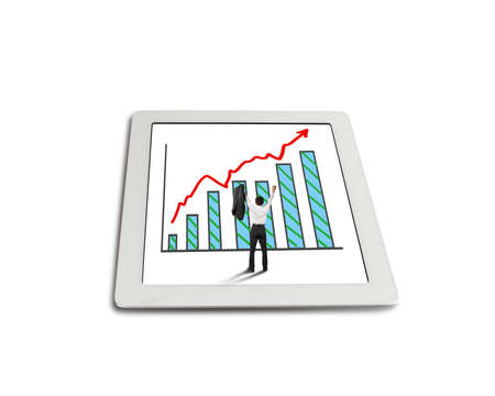 exciting: hands rising cheered businessman with growth red arrow trend and chart on tablet in white