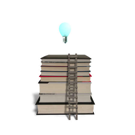 Glowing lamp on top of stack of books with wooden ladder in white background
