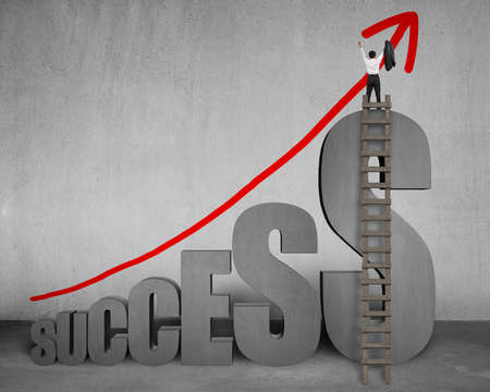 Cheered businessman standing on top of 3D success word with wooden ladder and growing red arrow on concrete wall Stock Photo