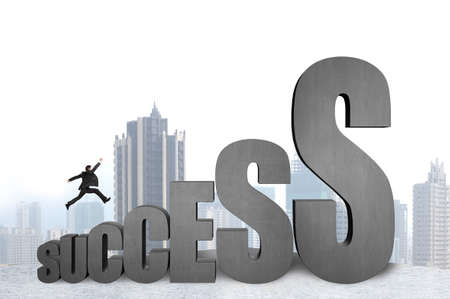 Businessman jumping on 3D success concrete word with city view background
