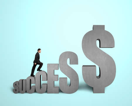 Businessman walking on SUCCESS concrete 3D word in light green  photo
