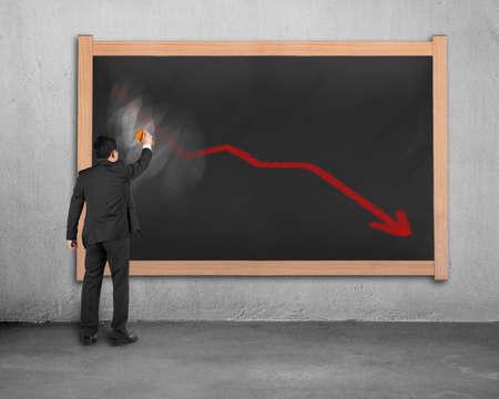 statics: Businessman erasing decreasing red arrow on dirty wooden chalk board in concrete