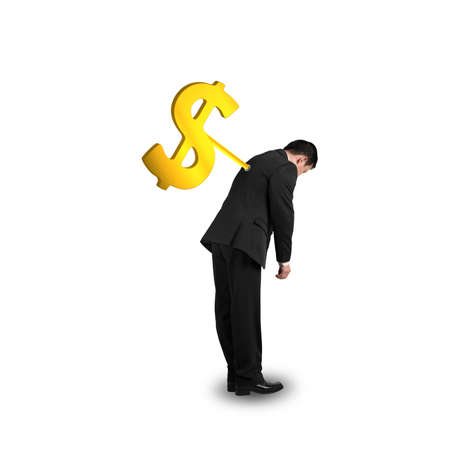 winder: Businessman with money symbol winder on his back, isolated in white