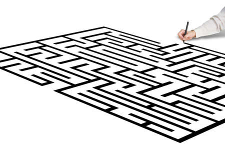 Hand drawing maze in white photo