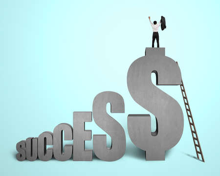 Cheered businessman standing on top of  SUCCESS  concrete 3D word in green background
