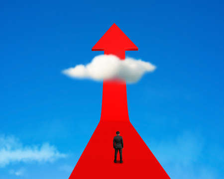 Rear view businessman standing on growing red arrow with cloud and sky photo