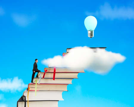 Businessman climbing on stack of books with growing bulb in sky backgorund