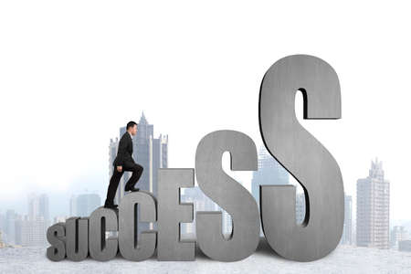 Businessman climbing on growing success 3D word with city view background photo
