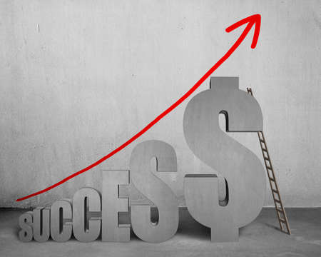 Success 3D concrete word with money symbol, wooden ladder, growing red arrow in concrete background photo