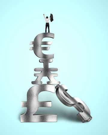 Cheered businessman on top of stack money symbols in blue background photo