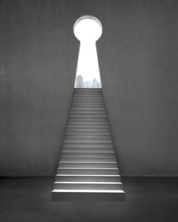 concrete stairs: Key shape door on concrete wall interior with stairs and city view outside