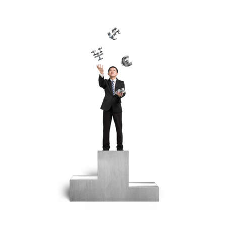 sliver: Businessman throwing and catching 3D sliver money symbols on podium in white background Stock Photo