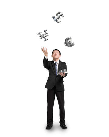 sliver: Businessman throwing and catching 3D sliver money symbols isolated in white background