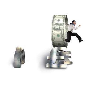 Businessman jumping through circle on stack money symbols isolated in white background Stock Photo