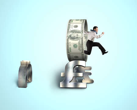 Businessman jumping through circle on stack money symbols in blue background