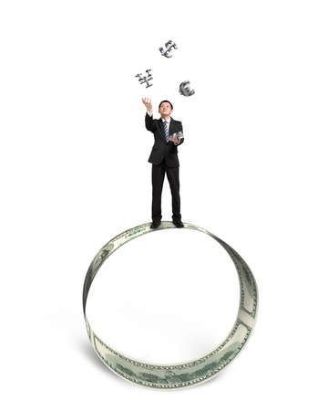 Businessman  catching and throwing 3D sliver money symbols on money circle isolated in white background