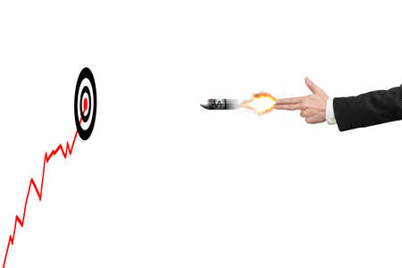 move gun: Hand gun gesture with money symbol on bullet and target, growing red trend Stock Photo