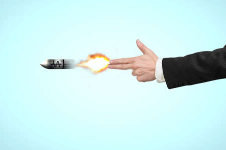 move gun: Hand gun gesture with fire and money symbol on bullet in blue background