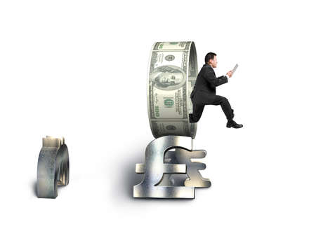 Businessman using tablet jumping through money circle isolated in white  photo