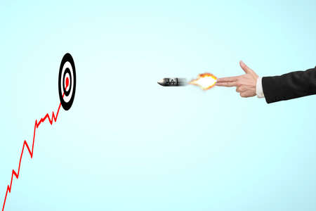 move gun: Hand gun shooting gesture with money symbol on bullet and target, growing red trend Stock Photo
