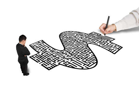 Hand drawing money shape maze for businessman in white  photo