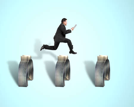 steeplechase: Businessman jumping over 3d euro symbols in blue