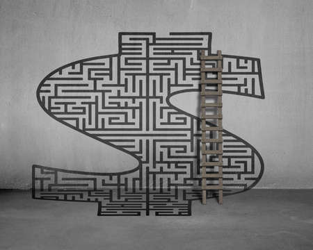 Money shape maze on concrete wall with wooden ladder photo