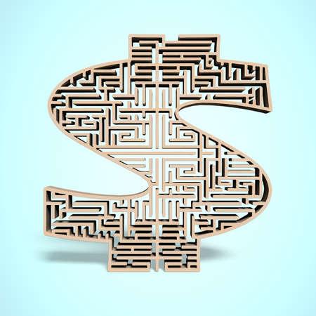 3d wooden money shape maze in blue  photo