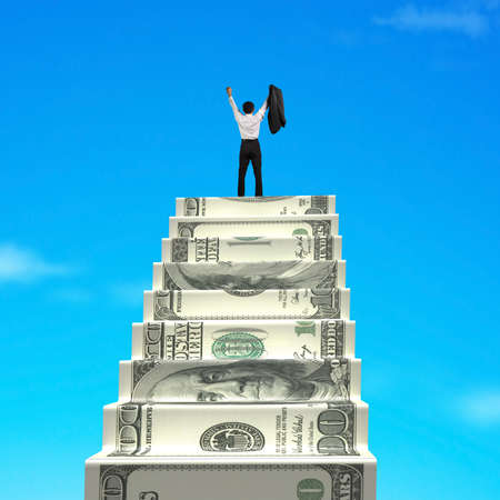 Businessman cheering on top of money stairs with blue sky background