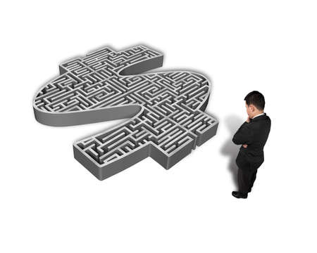 thoughtful businessman facing 3d money symbol maze isolated in white background photo