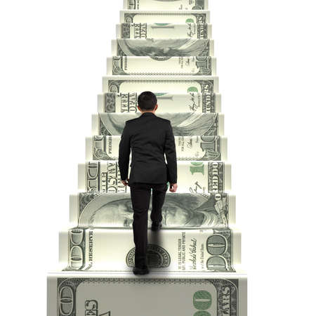 rear view businessman walking on money stairs isolated in white background photo