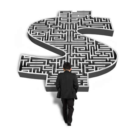 businessman walking toward 3d money shape maze isolated in white background photo