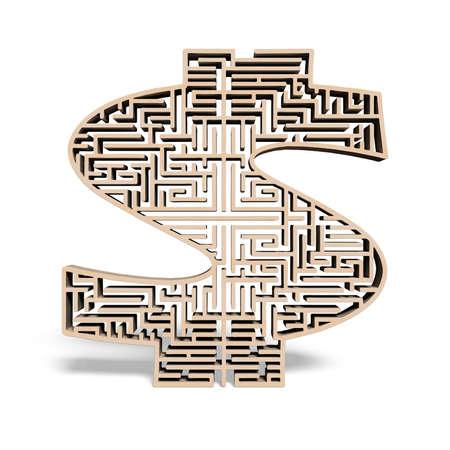 wooden money shape maze isolated in white background photo