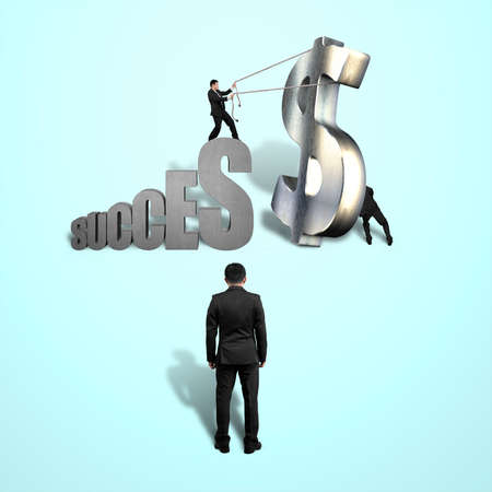 Trying to stand large money symbol for success isolated in blue background