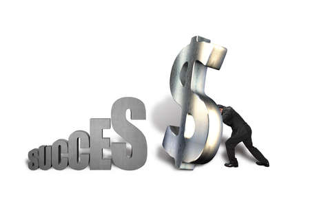 Standing large money symbol for success isolated in white background Stock Photo