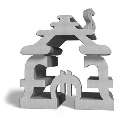 Money symbols stacking building in white background photo