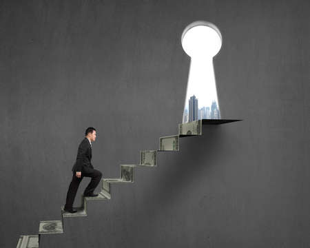 key hole: Climbing to top of money stairs with key hole and city view