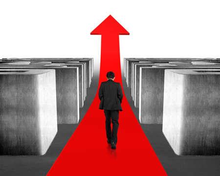 Walking on growing red arrow through 3d concrete maze