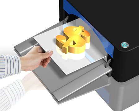 3D printer with gold money symbol on tray photo