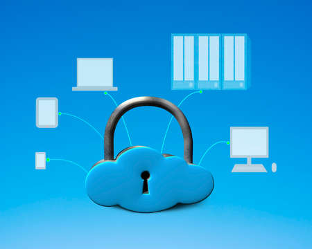Cloud shape lock with computing devices blue background