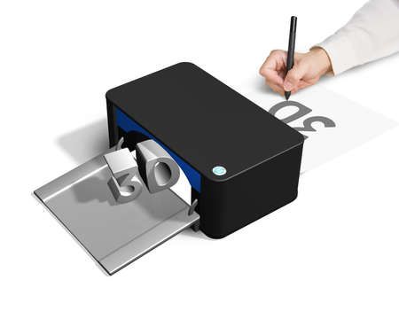printer drawing: 3D printer concept for hand 2D drawing white background