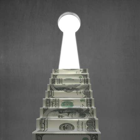 key hole shape: Money stairs with key shape hole on concrete wall Stock Photo
