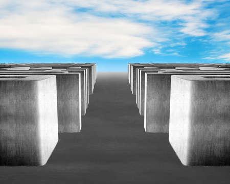 3D concrete maze with blue sky background photo