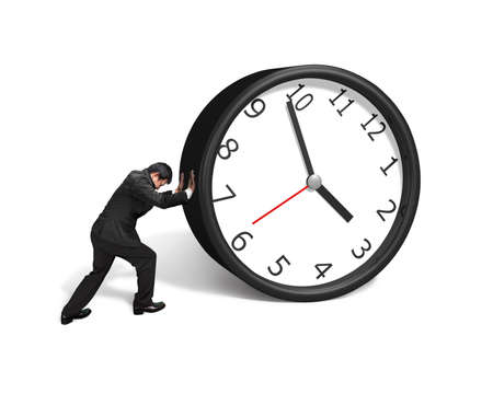 Man rolling clock isolated in white background