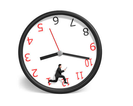 pneuma: Businessman running inside clock isolated in white background